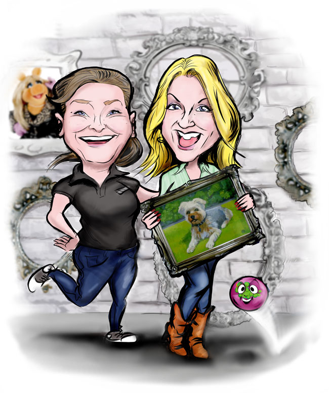 the team at manor framing in caricature